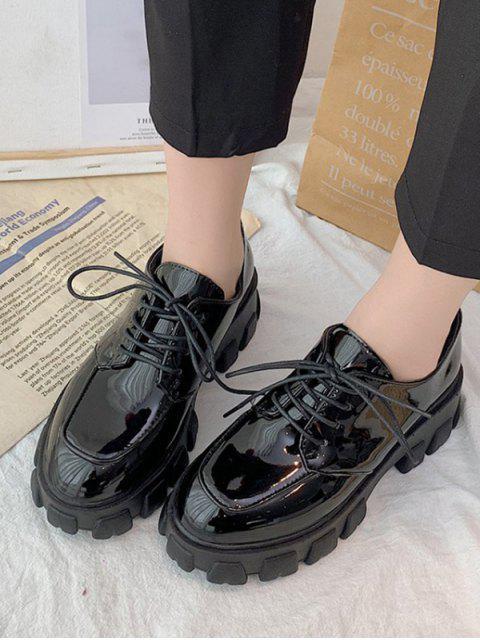 На шнуровке Кожаная Обувь На платформе - Чёрный ЕС 39 Mobile