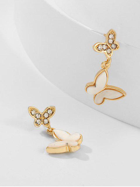 Дизайн бабочки Серьги Горный хрусталь - Золотой  Mobile