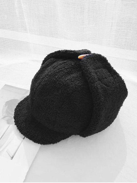 Повседневная Одноцветная Пушистая Шляпа - Чёрный  Mobile