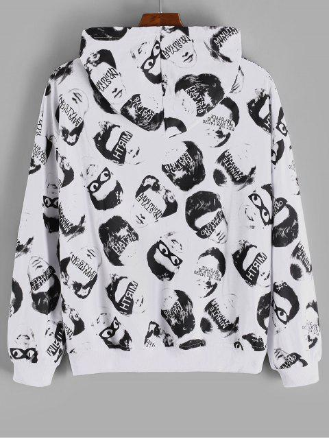 online Letter Face Character Allover Drop Shoulder Hoodie - WHITE 3XL Mobile