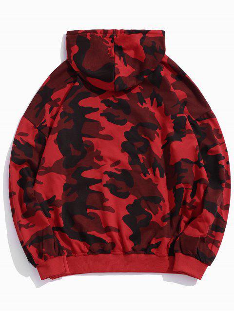 迷彩打印囊袋狀落肩連帽衫 - 紅 L Mobile