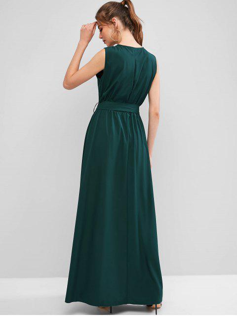 Vestido de Festa Longo e Fenda com Cinto de Sobrepeliz - Verde Médio do Mar M Mobile