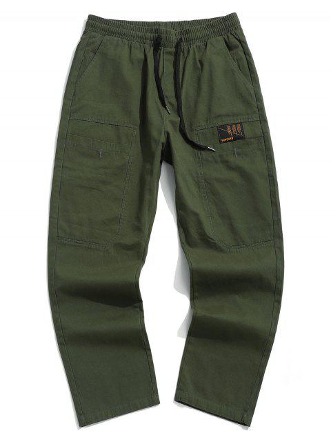 affordable Letter Print Pocket Drawstring Casual Pants - ARMY GREEN XS Mobile