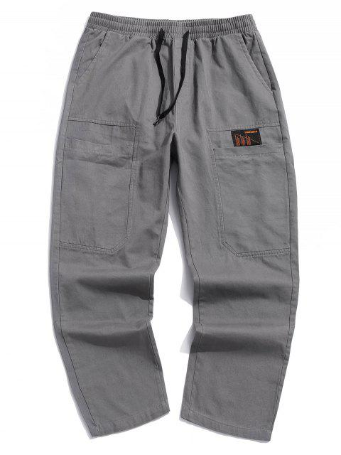 ladies Letter Print Pocket Drawstring Casual Pants - GRAY XL Mobile