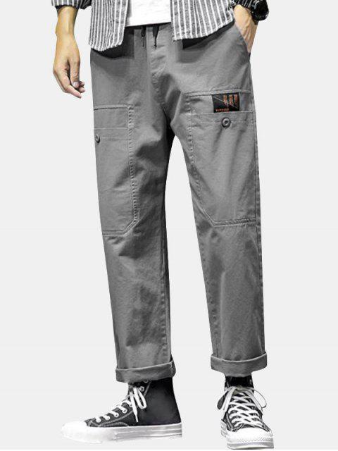 sale Letter Print Pocket Drawstring Casual Pants - GRAY XS Mobile
