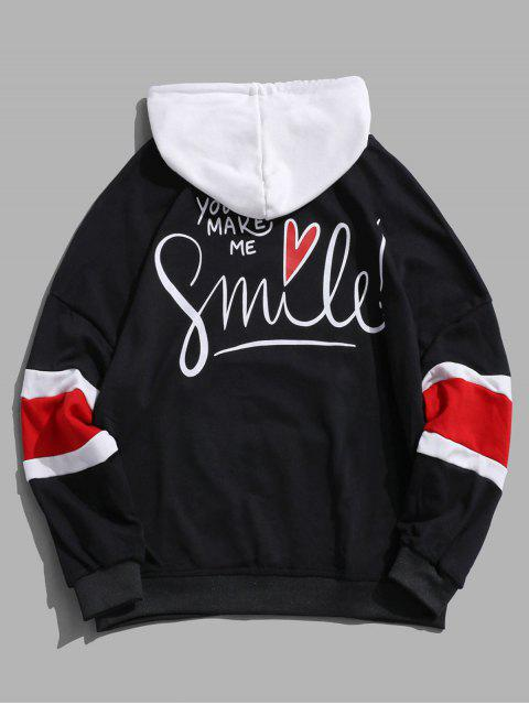 微笑信心打印Colorblock落肩衫 - 黑色 XL Mobile