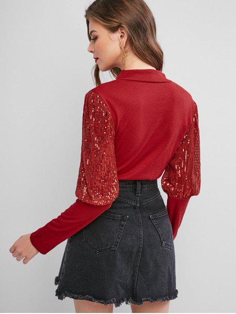 unique Mock Neck Sparkly Sequined Ribbed Top - RED L Mobile