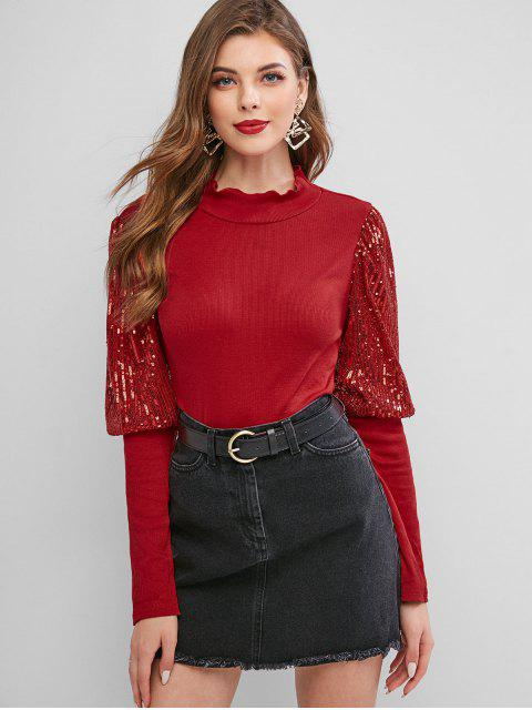 hot Mock Neck Sparkly Sequined Ribbed Top - RED S Mobile