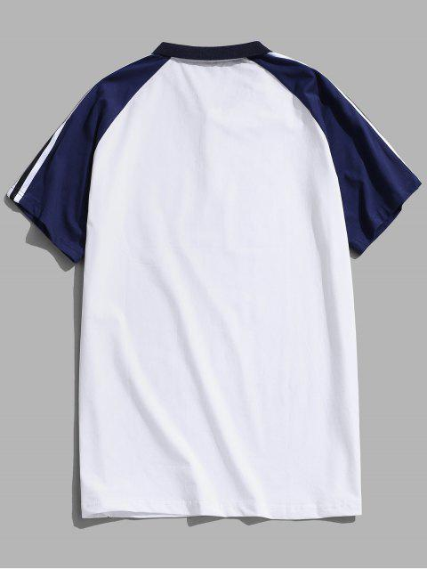 fancy Colorblock Panel Striped Turn-down Collar T-shirt - WHITE XL Mobile