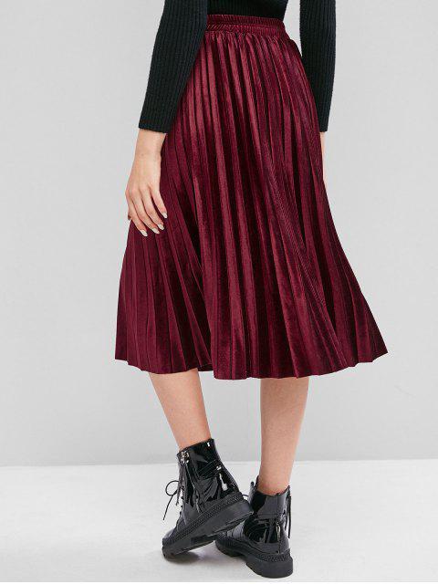 buy Velvet Pleated A Line Midi Skirt - RED WINE L Mobile