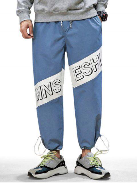 休閒字母印花高腰彈力褲慢跑者 - 藍色錦鯉 L Mobile