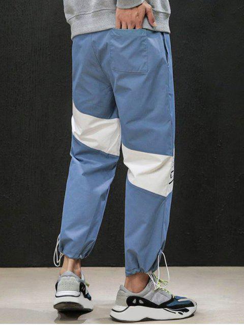 休閒字母印花高腰彈力褲慢跑者 - 藍色錦鯉 XS Mobile