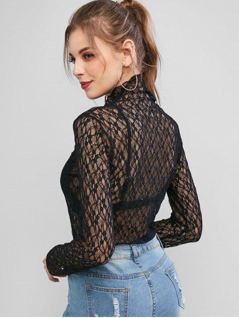 outfit Mock Neck Semi Sheer Lace Top - BLACK ONE SIZE Mobile