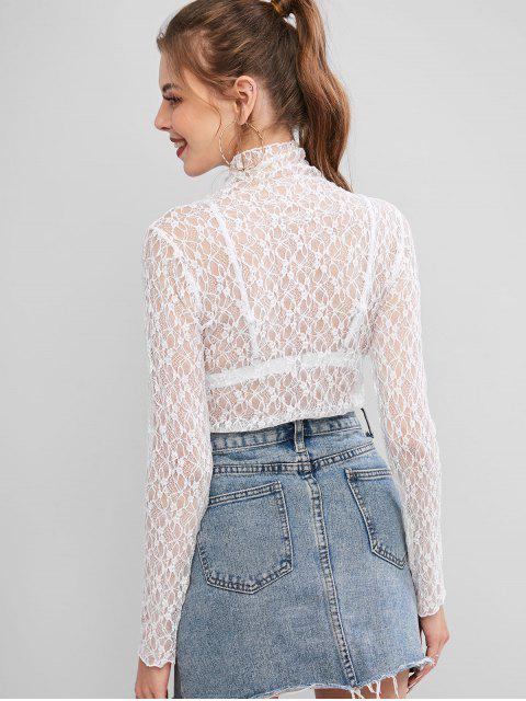 affordable Mock Neck Semi Sheer Lace Top - WHITE ONE SIZE Mobile