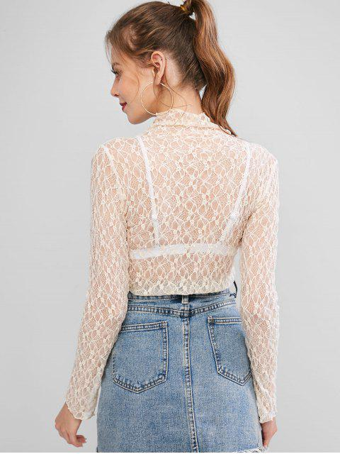 women's Mock Neck Semi Sheer Lace Top - APRICOT ONE SIZE Mobile