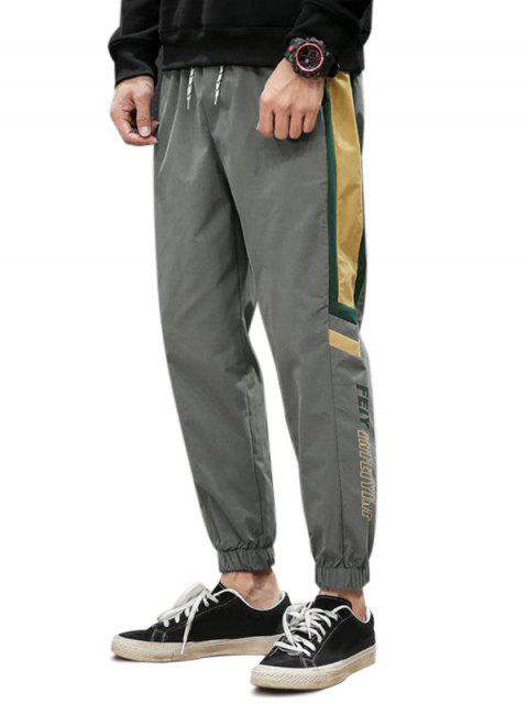 chic Letter Print Colorblock Jogger Pants - GRAY L Mobile