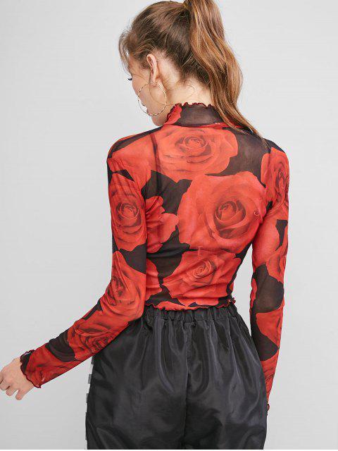hot Mock Neck Rose Floral Sheer Mesh Tee - RED L Mobile