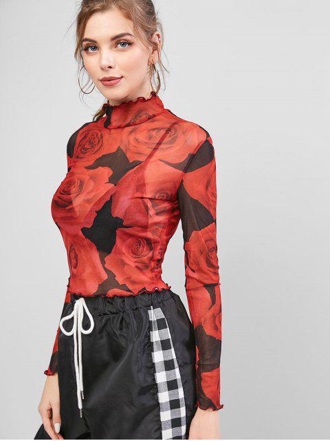 モックネックローズフローラルシアーメッシュTシャツ - 赤 M Mobile