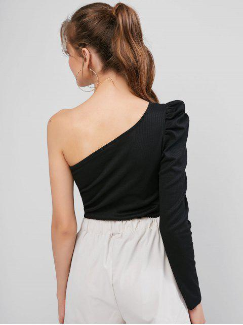 latest ZAFUL Ribbed One Shoulder Puff Sleeve Tee - BLACK XL Mobile
