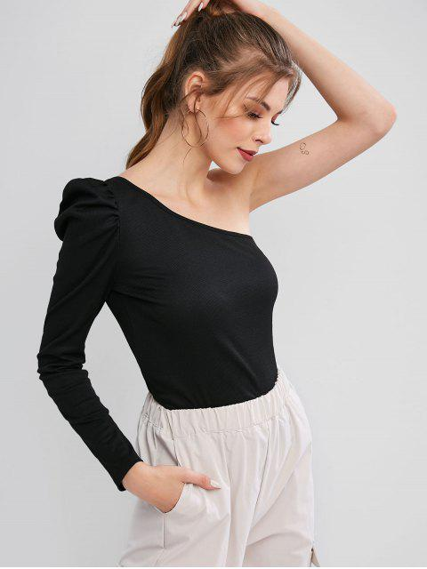 online ZAFUL Ribbed One Shoulder Puff Sleeve Tee - BLACK S Mobile