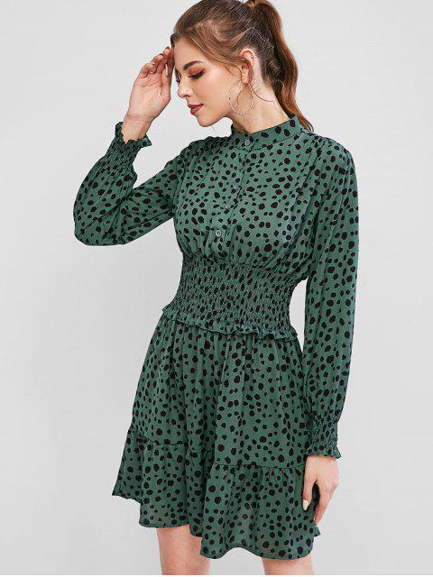 Vestido con Volantes y Botones - Verde L Mobile