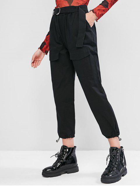 Pantalones de Carga con Dobladillo con Cinturón - Negro XL Mobile