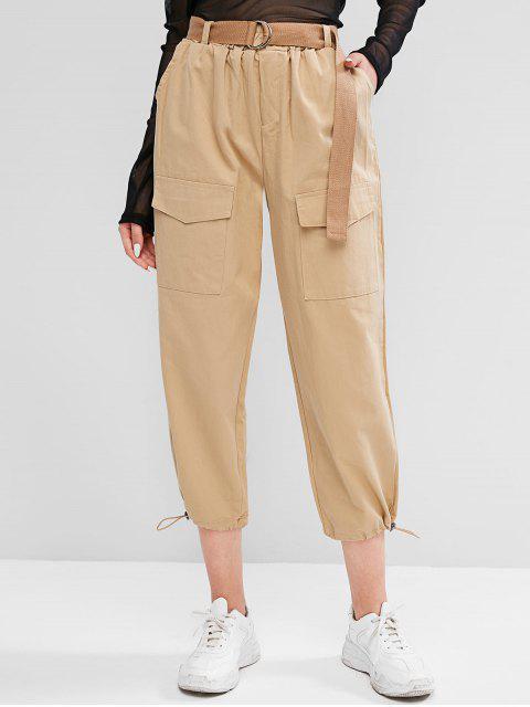 Pantalones de Carga con Dobladillo con Cinturón - Caqui Claro XL Mobile