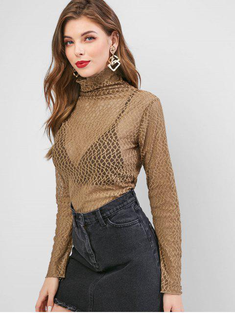sale Turtleneck Semi Sheer Mesh Top - COFFEE ONE SIZE Mobile