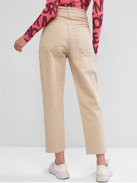 Jeans Cintura Alta y Bolsillos - Caqui Claro L Mobile