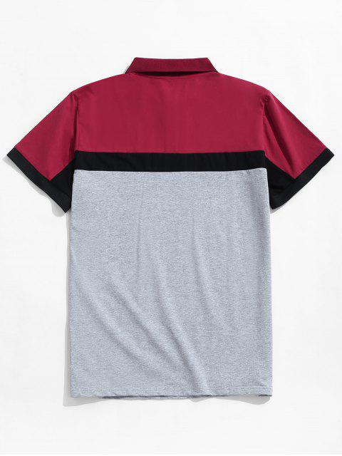 shop Colorblock Panel Turn Down Collar T-shirt - GRAY M Mobile