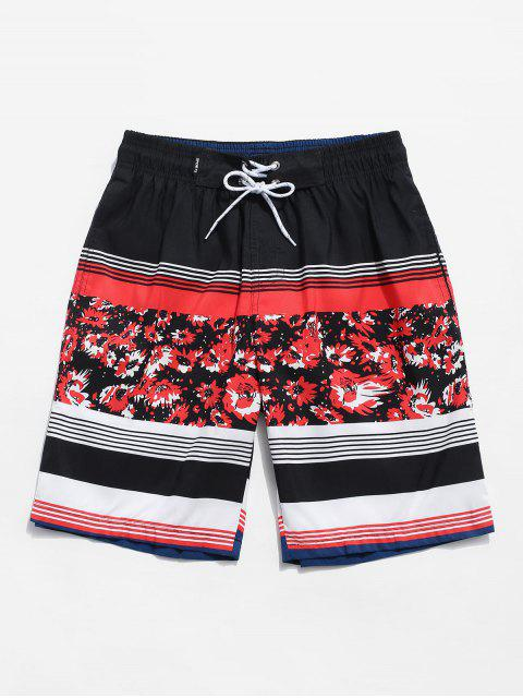 unique Flower Striped Print Casual Shorts - RED M Mobile