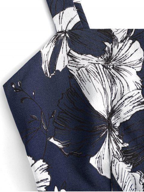 ZAFUL Ensemble de Pantalon Paperbag Court Fleuri à Volants - Bleu de Minuit M Mobile