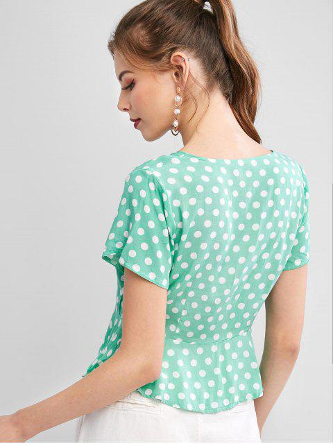 ladies Polka Dot Tie Button Up Crop Top - GREEN L Mobile
