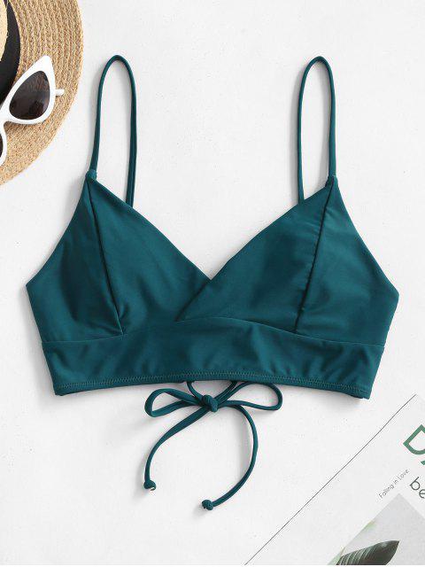 affordable ZAFUL Lace-up Surplice Bikini Top - PEACOCK BLUE M Mobile