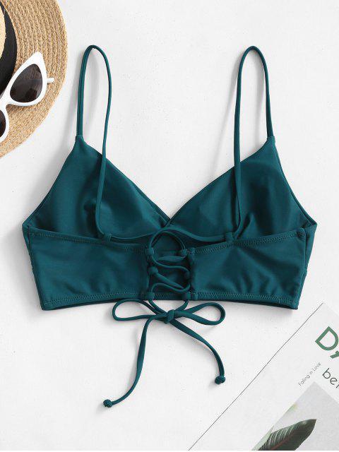 sale ZAFUL Lace-up Surplice Bikini Top - PEACOCK BLUE L Mobile