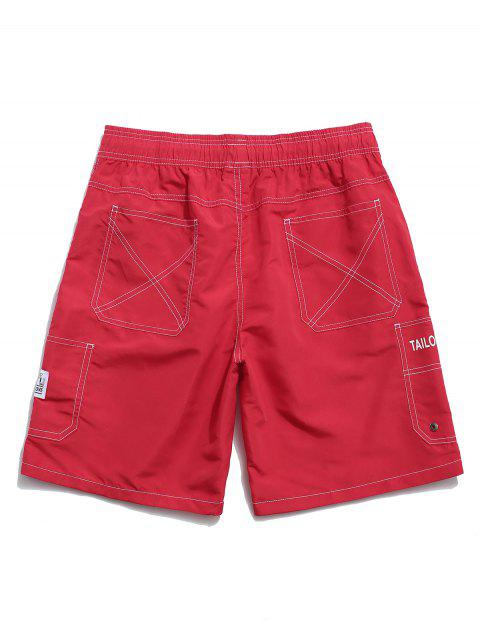 sale Letter Print Elastic Waist Casual Shorts - RED M Mobile