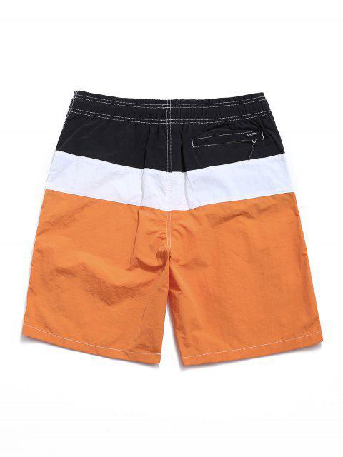latest Color Spliced Elastic Waist Casual Shorts - ORANGE XL Mobile