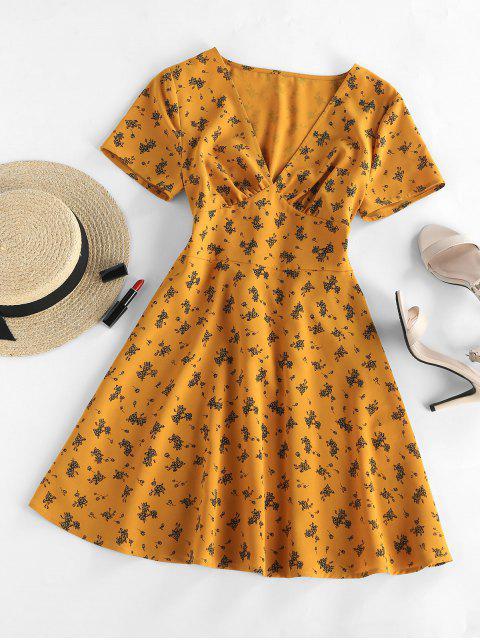ZAFUL Floral V Neck A Line Mini Dress - بني ذهبي S Mobile