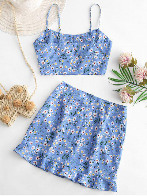 best ZAFUL Tiny Floral Ruffles Cami Two Piece Suit - POWDER BLUE L Mobile