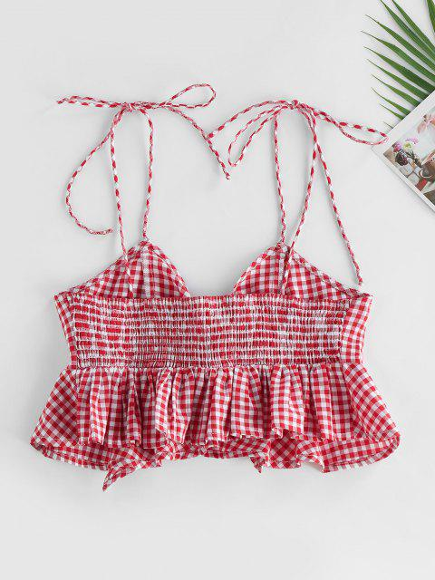 hot ZAFUL Gingham Smocked Tied Peplum Camisole - RED XL Mobile