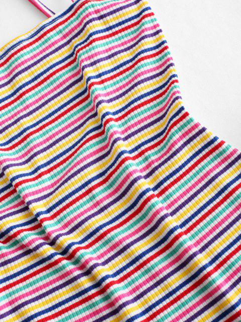 fashion ZAFUL Ribbed Colorful Stripes Ruffled Hem Cami Dress - MULTI-A M Mobile