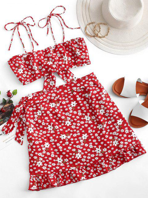women ZAFUL Two Piece Ditsy Floral Tie Front Wrap Skirt Set - LAVA RED XL Mobile