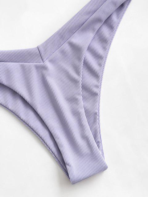 ZAFUL Bikini Badebekleidung mit Geripptem Knoten und Hohem Bein - Lavendel Blau S Mobile