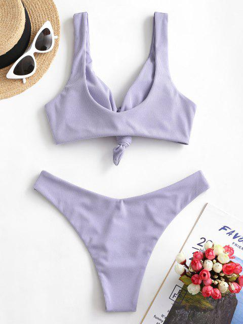 buy ZAFUL Ribbed Knot High Leg Bikini Swimsuit - LAVENDER BLUE S Mobile