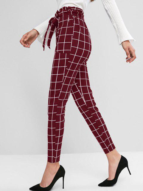 outfit ZAFUL Plaid Pocket Pencil Paperbag Pants - RED WINE L Mobile