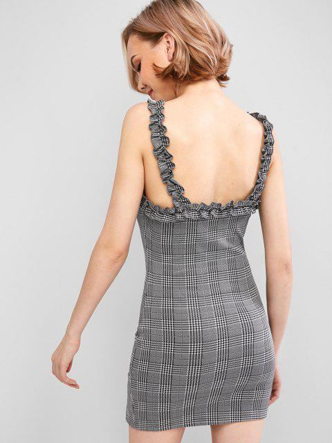 new ZAFUL Glen Check Slit Ruffled Strap Dress - CARBON GRAY S Mobile