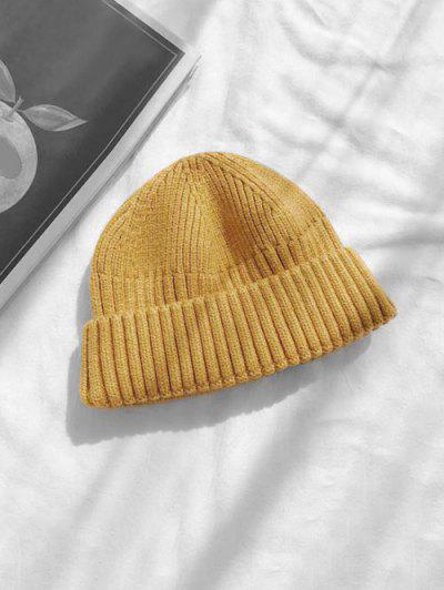 Chapéu De Malha Com Laço De Crânio Para Inverno - Amarelo