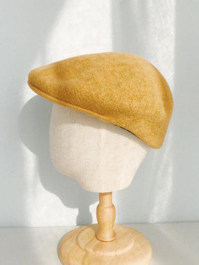 Winter Solid Wool Flat Cap - Yellow