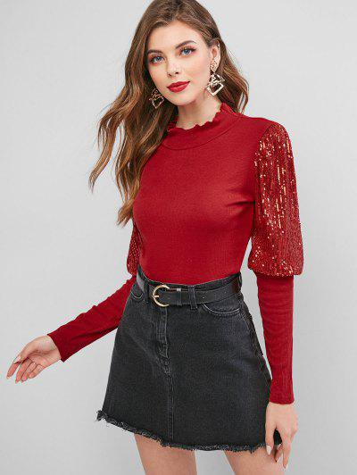Mock Neck Sparkly Sequined Ribbed Top - Red Xl