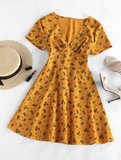 ZAFUL Floral Gola V A Linha Mini Vestido - Marrom Dourado S
